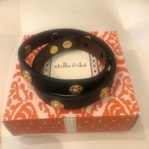 stella & dot stud bracelet black and gold